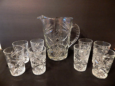 Anchor Hocking Early American Prescut Star Water/Tea Pitcher & 8 juice glasses
