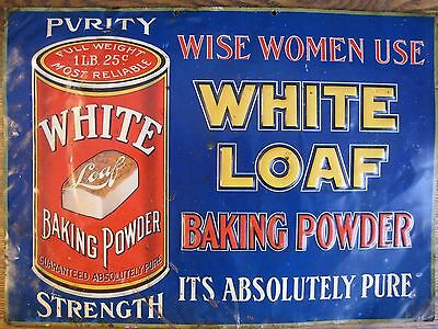 Rare Authentic Vintage Embossed Metal White Loaf Baking Powder Sign VG Condition