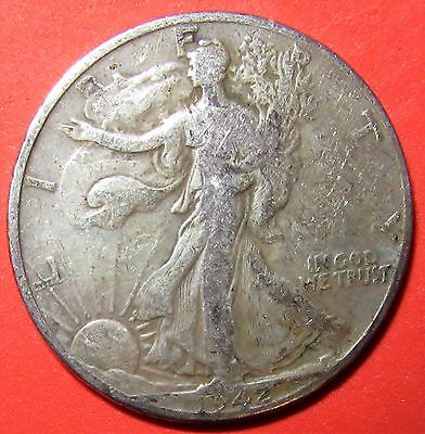 1942 Walking Liberty 90% Silver Half Dollar--Low Combined Shipping