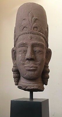 KHMER BAYON STYLE STONE HEAD STATUE SCULPTURE Modern Sandstone Reproduction