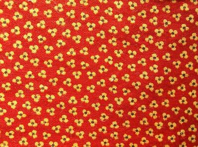 ~Back In Time Textiles~Antique 1890-1910 Red & Chrome yellow calico Fabric~