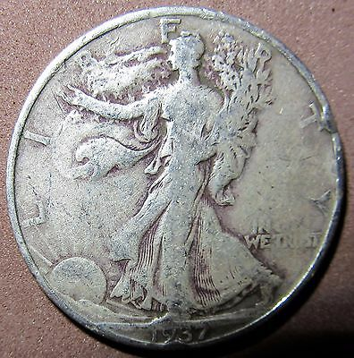 1937-D  Walking Liberty 90% Silver Half Dollar--Low Combined Shipping