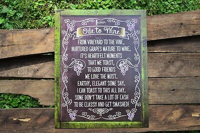 An Ode to Wine Tin Metal Sign - Vino - Vinyard - Home Decor - Drink - Funny