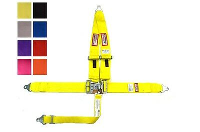 Racing Harness Seat Belt 5 Pt Sfi 16.1 Latch & Link V Mount Yellow Or Any Color