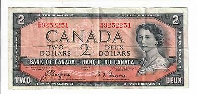 1954 Canada Bank Note Two Dollar $2 Devils Face