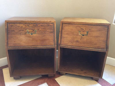 Henredon Artefacts Campaign Style Mid Century Nightstands Pair Local Pickup