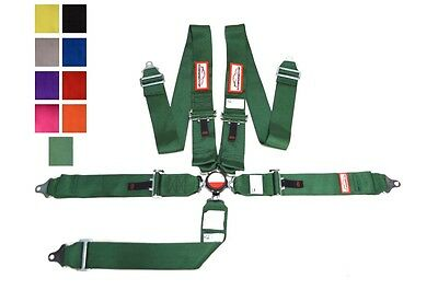 """Racing Harness 5 Point Floor Mount 3"""" Cam Lock Sfi 16.1 Bolt In Green Any Color"""