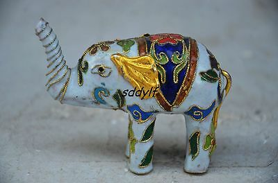 Exquisite Chinese Cloisonne Handwork Lifelike Elephant Statue