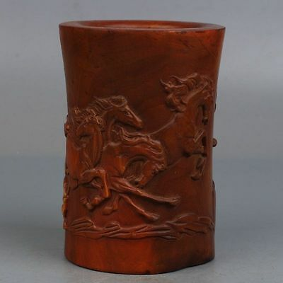 Chinese Exquisite Hand-carved Boxwood carving Horse pattern Pen holder