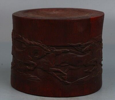 Chinese Exquisite Hand-carved Bamboo carving Horse pattern box