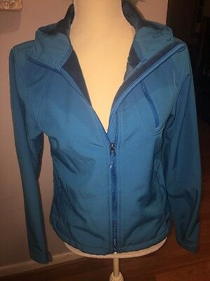 Double Diamond Small Blue Women's Jacket Coat Hooded Lined #112