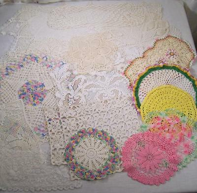 16 Vintage Crochet Doily Doilies Pink White Ivory Cream Yellow Mixed Lot Antique