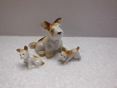 Vintage Mother Dog and 2 Pups Figurines