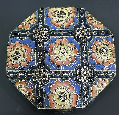 Rare Antique Russian 84 Silver Enamel Box Case Art Nouveau 11A