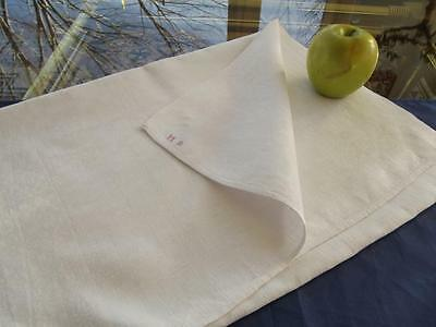 Antique White French Linen Kitchen Dish Long Chef's Towel 17x49 Red MB Monogram