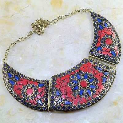 """Free Shipping Huge Red Coral+Lapis Lazuli Silver Necklace 16"""" 76 Grams"""