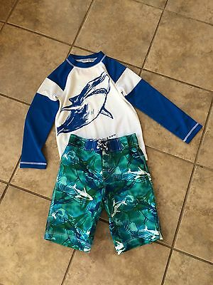 NWT Gymboree Boys Shark Swimsuit Rash Guard trunk Set 5/6,7/8,10/ 12 Swim Shop