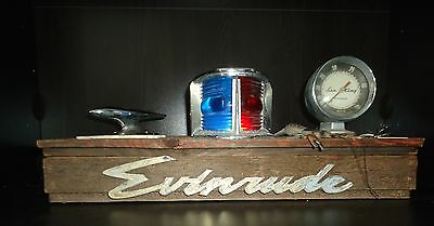 Vintage Nautical OMC Evinrude outboard Folk Art Lamp w/ bow light, emblem