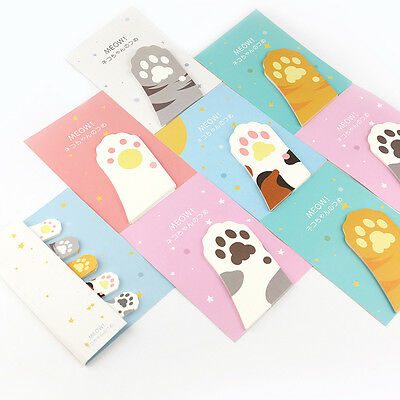Cute Cartoon Meow Kitty Cat Paw Memo Pad Sticky Note Post Page Marker Planner