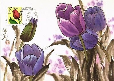 Dr Jim Stamps Us Tulip Flower First Day Issue Linen Maximum Card 1991