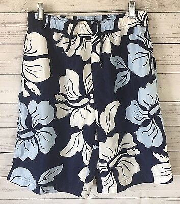 Lands End Boys XL 18/20 Husky Swim Trunks Blue Hawaiian Print~C~