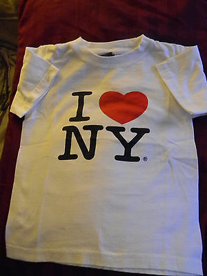 "New York size S kids t-shirt white 100% cotton SAAD length 17"" short sleeves"