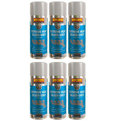 Hycote Very High Temperature Silver Grey 6 Spray Cans Paint 400ml