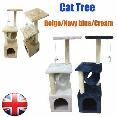 Soft Cat Kitten Tree Scratching Post Activity Centre Bed Toys Scratcher 90CM UK