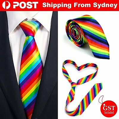 Mens Skinny Rainbow Tie Plain Wedding Slim Necktie Casual Novelty Wedding Suit