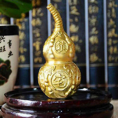 95x40mm Large Chinese Natural Brass Feng Shui Wu Lou Luo Lu Health Enhance Gourd