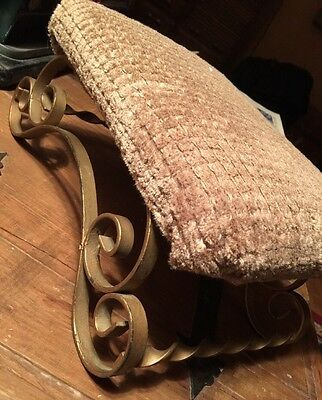 "Metal Wrought SCROLL FOOT Decor STOOL UPHOLSTERED 6""H X 13""L X 9"" W VINTAGE"