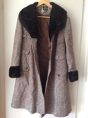 VINTAGE 1950's Pure New Wool WINTER SWING COAT Fur Collar & Cuffs 14 16 PINUP
