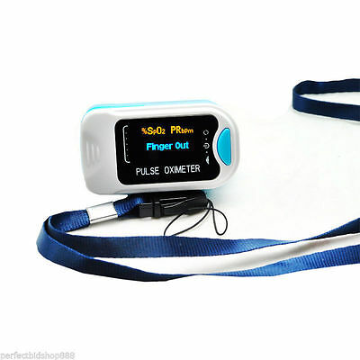FingerTip Pulse Oximeter Blood Oxygen SpO2 Monitor CMS50N Blue US Seller+Battery