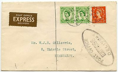Gb Post Office Express Delivery 1956 Wildings + Brown Etiquette + Oval Handstamp