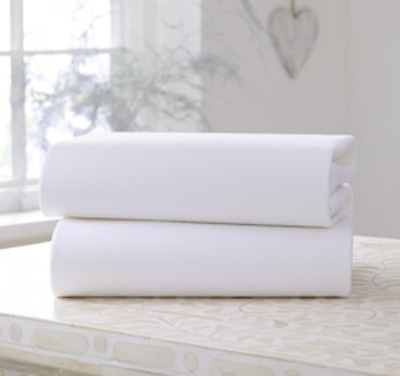 Pack of 2 CLAIR de LUNE Cream Cotton Moses Basket FITTED SHEETS 30 x 74 cm NEW