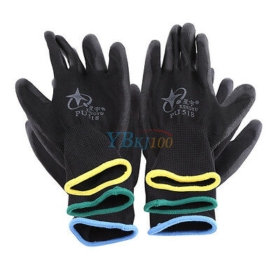 12/24 Pairs Black PU Coated Safety Work Gloves Garden Grip Builders Construction