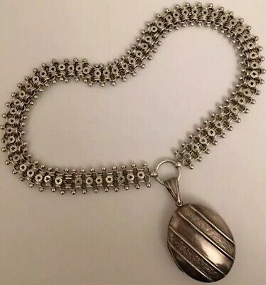Antique Victorian Extra Heavy Large Silver Locket And Collar Set