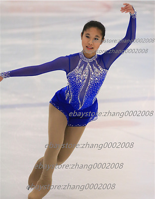 Ice skating dress.Blue Competition Figure Skating /Baton Twirling Costume