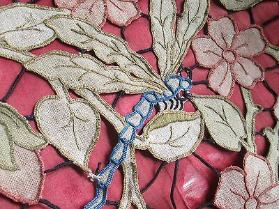 "Antique cushion top hand embroidered from linen ""Art Nouveau""Dragonfly/flowers"