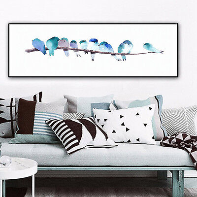 Nordic Art Watercolor Bird Minimalist Art Canvas Poster Print Room Decoration