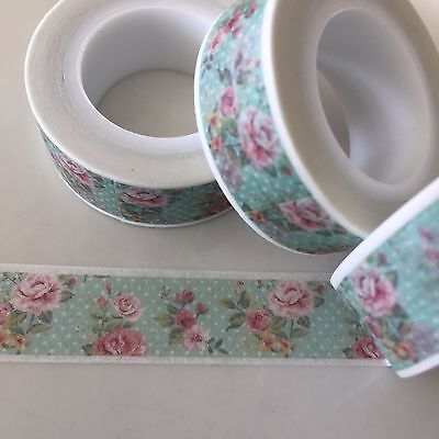 Washi Tape Roses & Polkadots Mint & Pink 15Mm Wide X 10Mtr Roll Plan Craft Wrap