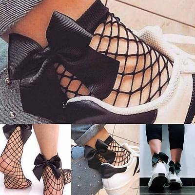 Fashion Women Ruffle Fishnet Ankle High Socks Bow Mesh Lace Fish Net Short Sock