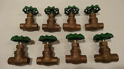 New Brass 1/2 Inch Shut Off Valves Sweat Lot Of 8. For Copper Pipe!