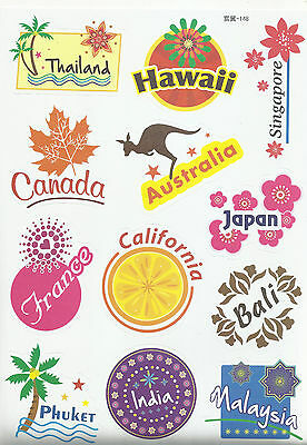 Sticker Decal Sticker Set Travel Mix (5) - Ideal for Suitcase, Laptop