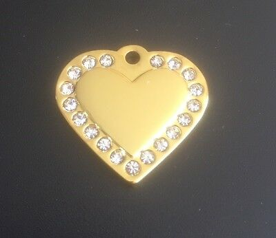 *SMALL* GOLD DIAMANTE HEART Engraved Cat / Dog / Pet ID tag GLAMOUR / BLING