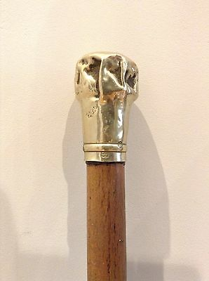 Antique Old Silver W Middleton? Ebonised Walking Stick Cane