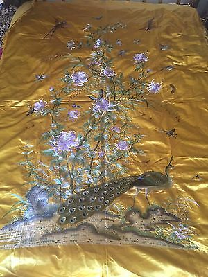 Large Antique Chinese Silk Embroidered Bird Peacock Panel Wall Hanging