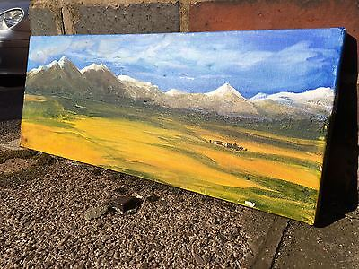 Mountain view and blue sky oil painting on canvas no frame