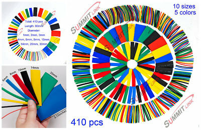 410 Assorted Heat Shrink Tube Kit 5 Colors 10 Sizes Wire Tubing Wrap Sleeve Set