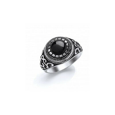 Gents Sterling Silver Signet Ring Set With Round Black Onyx